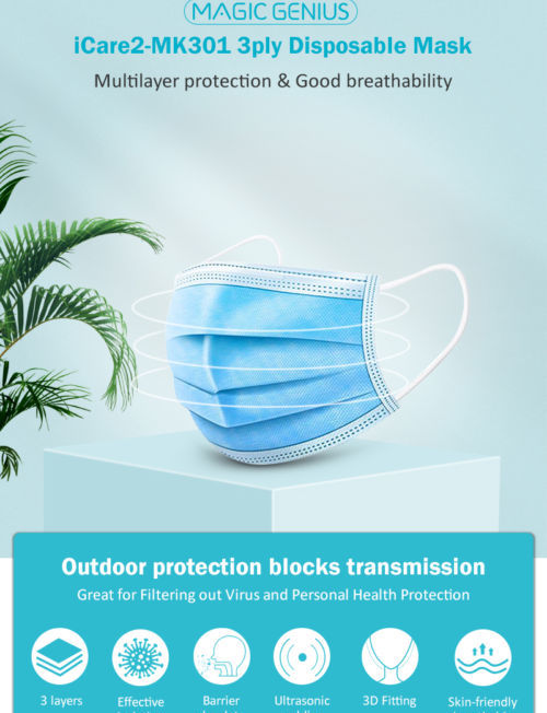 3Ply Disposable Face Mask 50 Pcs | Oxilene Disposable Masks